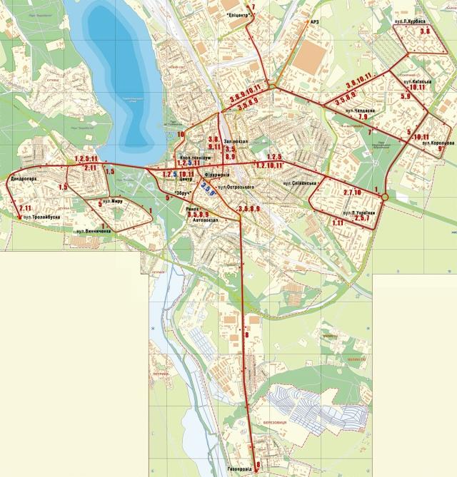 Схема тролейбусних маршрутів